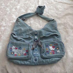 f057bdde7559 Hello Kitty Denim Medium Hobo Purse Bag